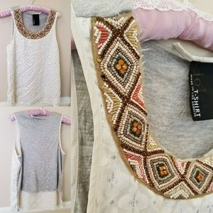Anthropologie Dolan beaded neck tank top S Small
